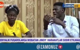 Ўзбек хонандасининг нигерияликларга пул ва овқат бермай, калтаклаб келгани юзасидан маълумот берилди — видео